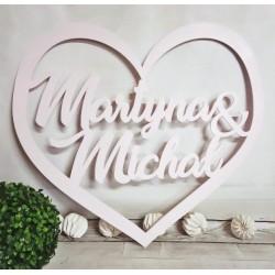 Serce z imionami na ścianę